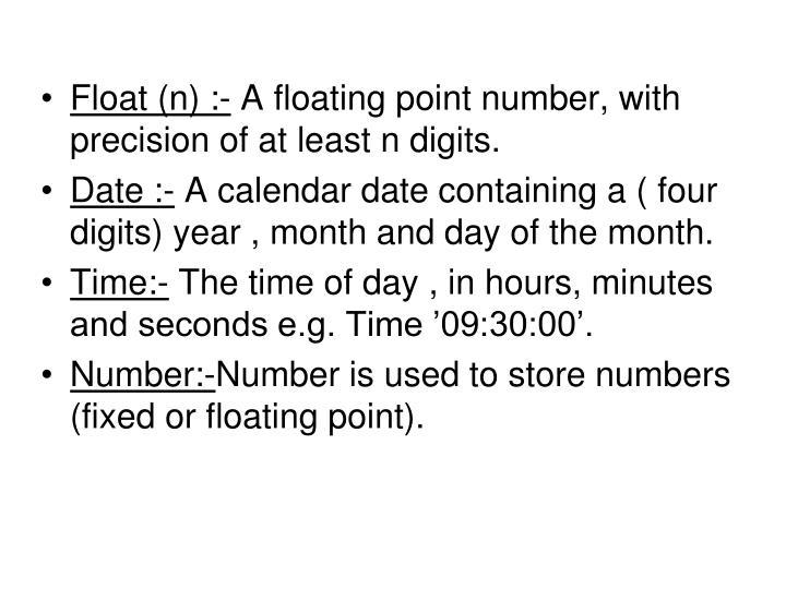 Float (n) :-