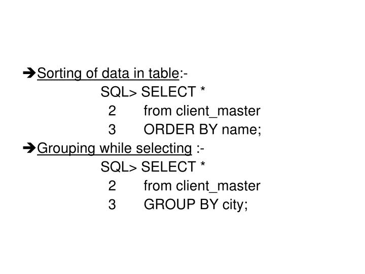 Sorting of data in table