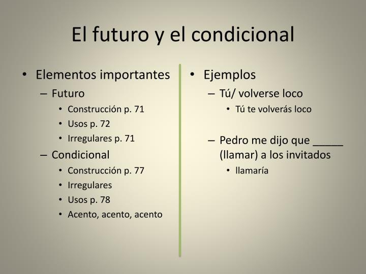 El futuro y el condicional