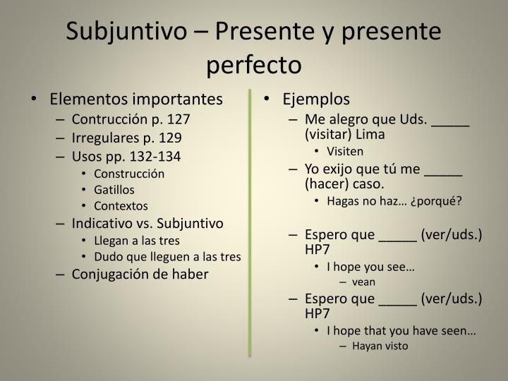 Subjuntivo – Presente y presente perfecto