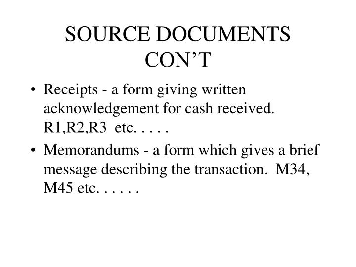 SOURCE DOCUMENTS CON'T