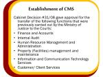 establishment of cms2