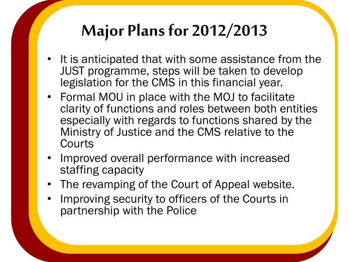 Major Plans for 2012/2013