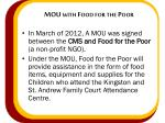 mou with food for the poor