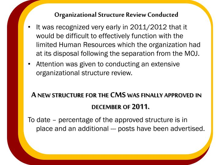 Organizational Structure Review Conducted