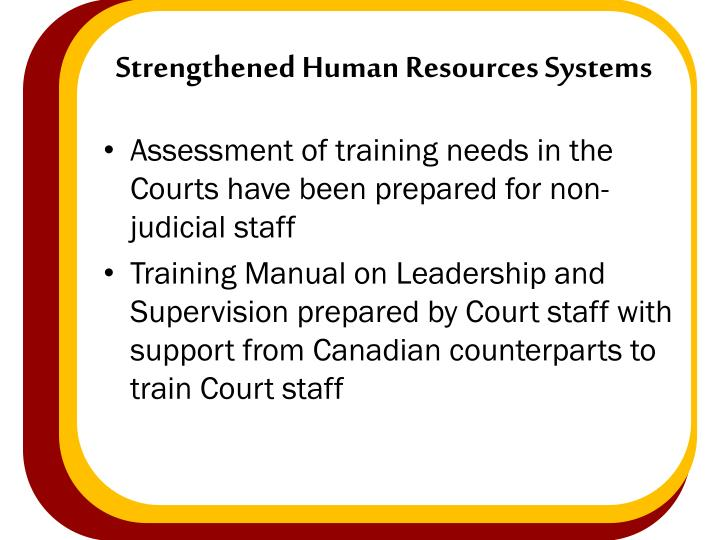 Strengthened Human Resources Systems