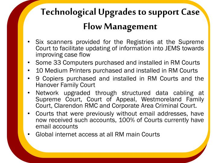 Technological Upgrades to support Case Flow Management