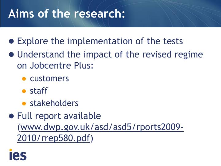 Aims of the research: