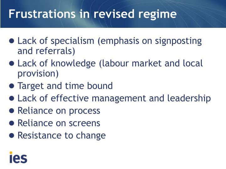 Frustrations in revised regime
