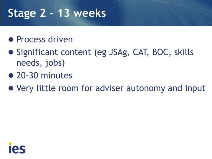Stage 2 - 13 weeks