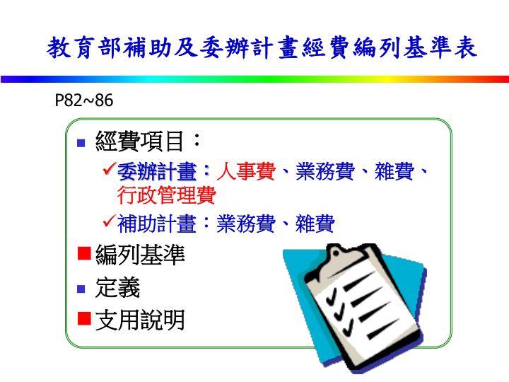 教育部補助及委辦計畫經費編列基準表