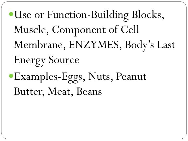 Use or Function-Building Blocks, Muscle, Component of Cell Membrane, ENZYMES, Body's Last Energy Source