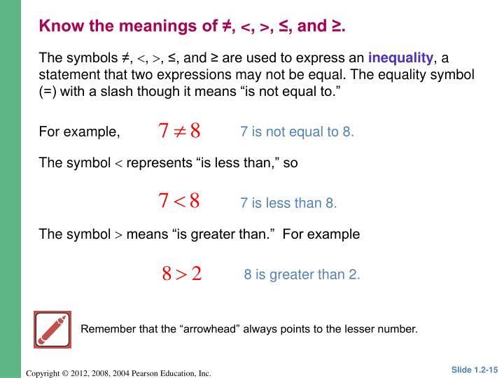 The symbols ≠,