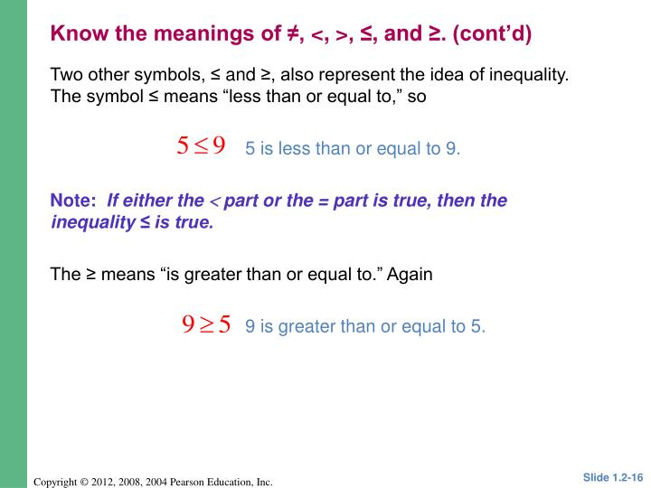 Two other symbols, ≤