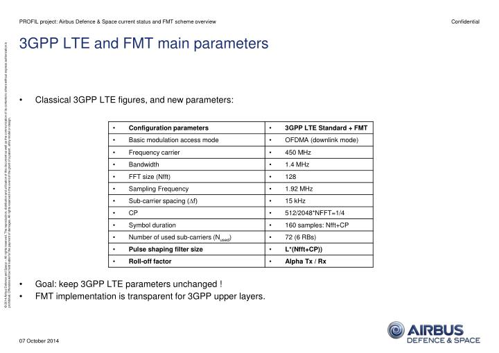 PROFIL project: Airbus Defence & Space current status and FMT scheme overview