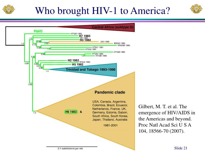 Who brought HIV-1 to America?