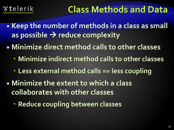Class Methods and Data