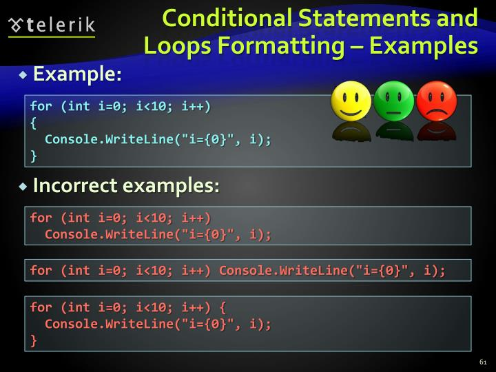Conditional Statements and Loops Formatting – Examples