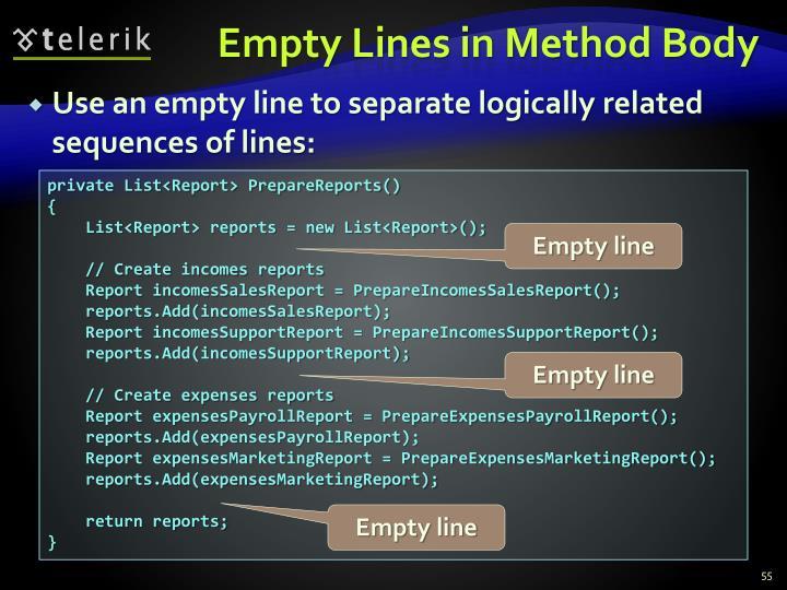 Empty Lines in Method Body