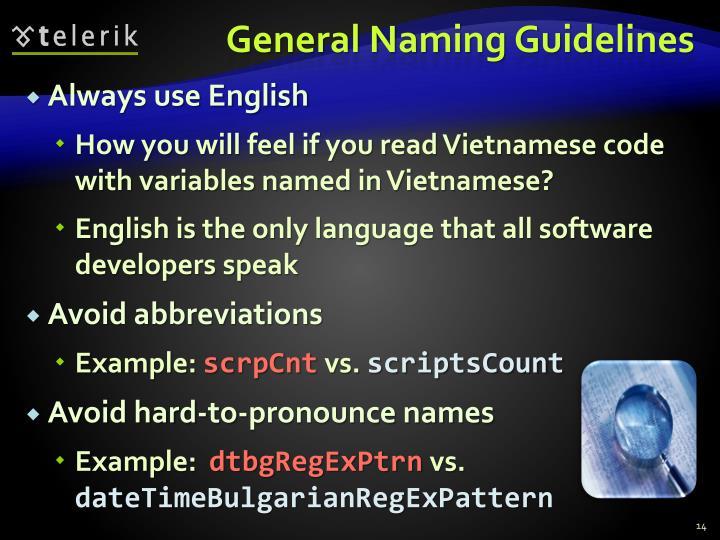 General Naming Guidelines