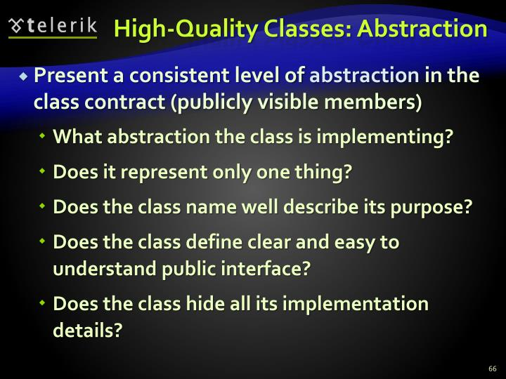 High-Quality Classes: Abstraction