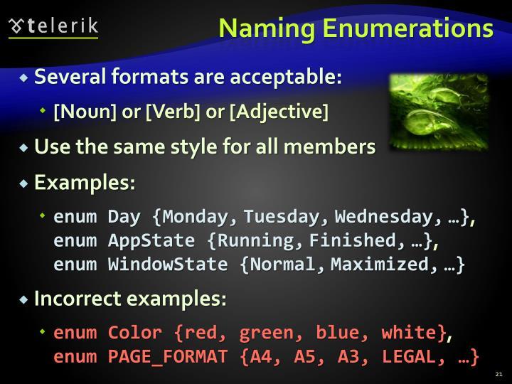 Naming Enumerations