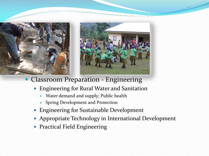Classroom Preparation - Engineering
