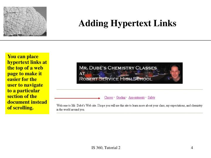 You can place hypertext links at the top of a web page to make it easier for the user to navigate to a particular section of the document instead of scrolling.