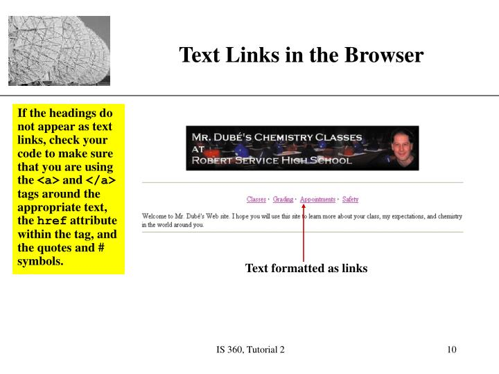 If the headings do not appear as text links, check your code to make sure that you are using the
