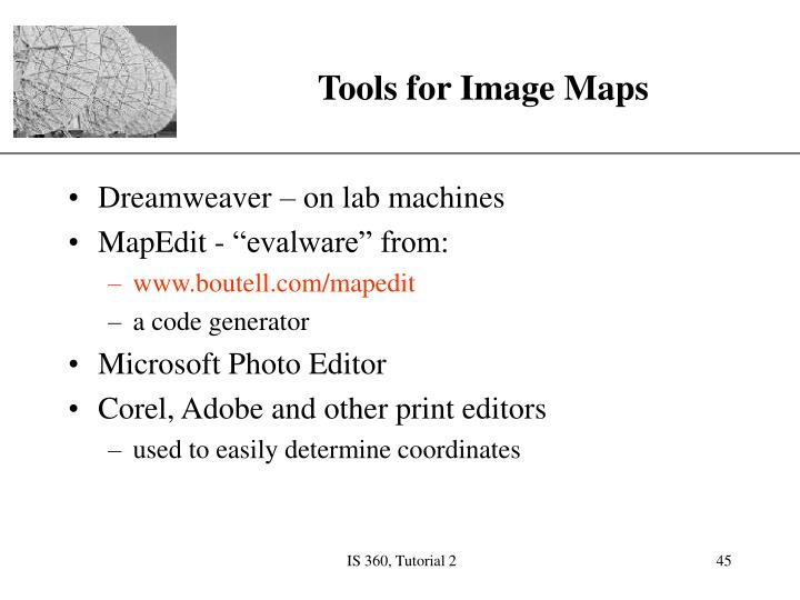 Tools for Image Maps