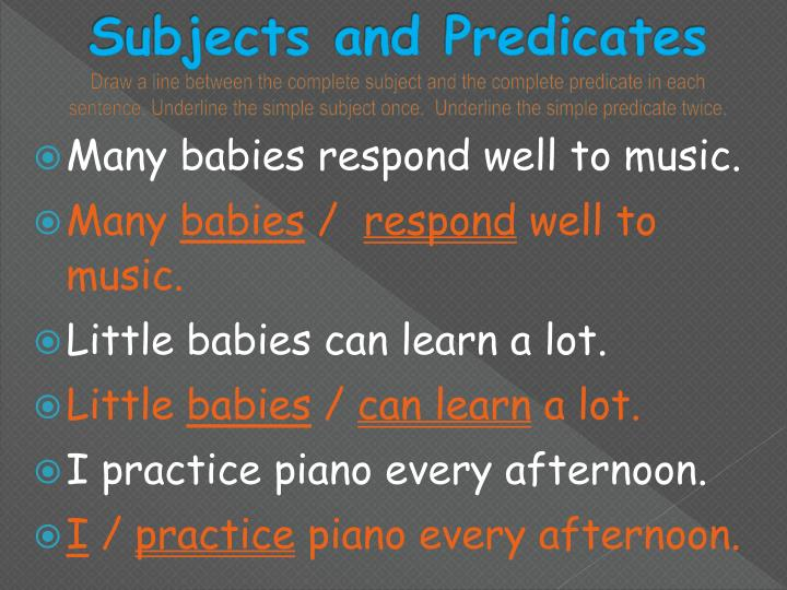 Subjects and Predicates