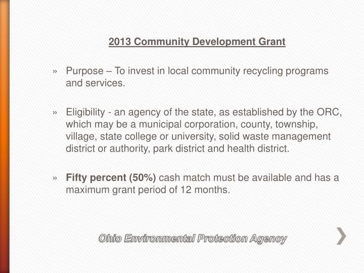 2013 Community Development Grant