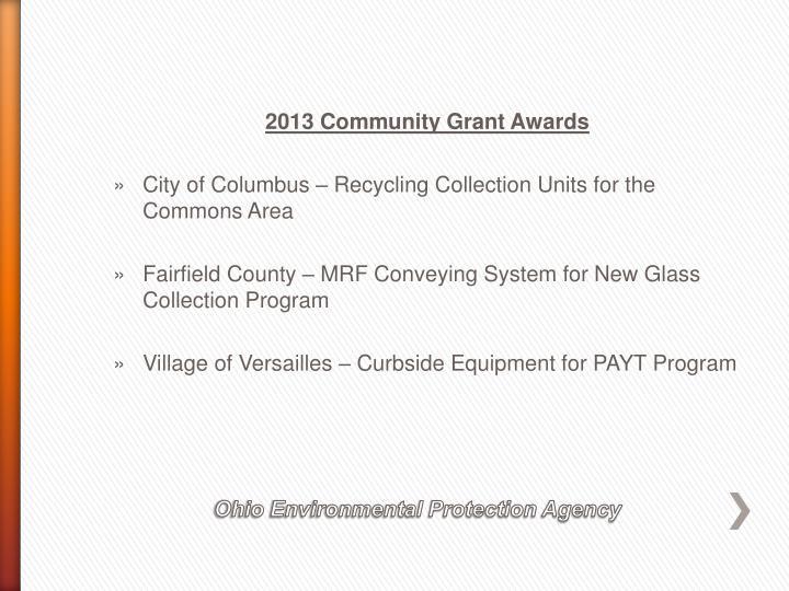 2013 Community Grant Awards