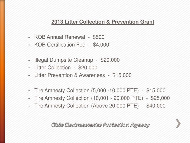 2013 Litter Collection & Prevention Grant