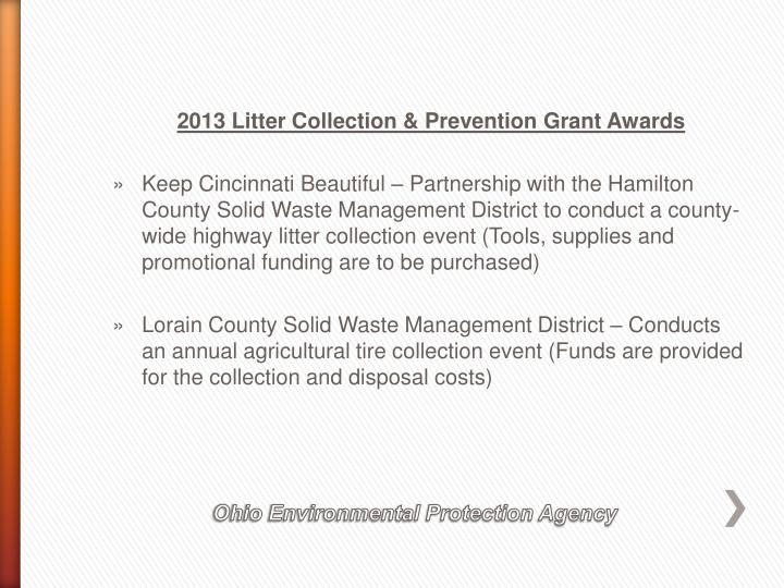 2013 Litter Collection & Prevention Grant Awards