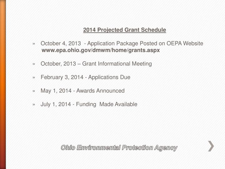2014 Projected Grant Schedule