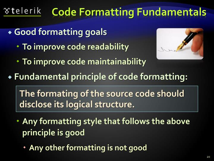 Code Formatting Fundamentals