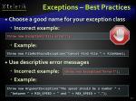 exceptions best practices