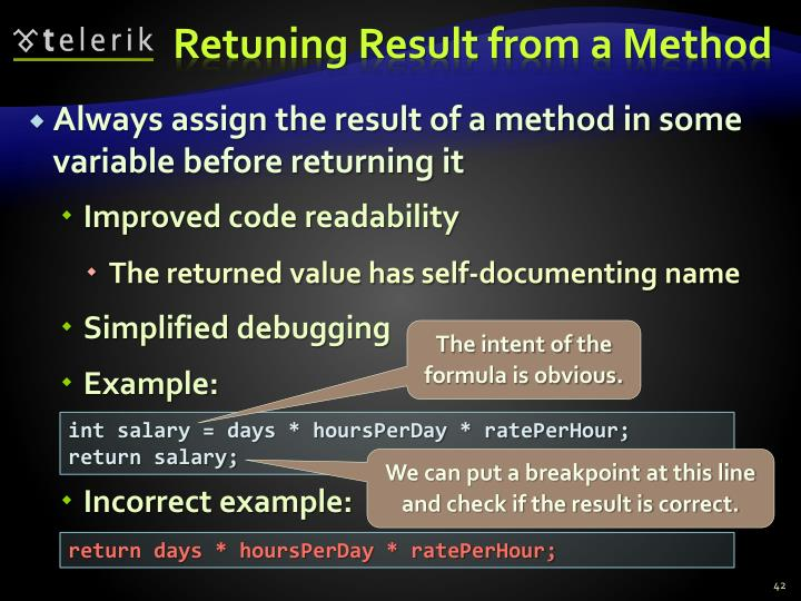 Retuning Result from a Method