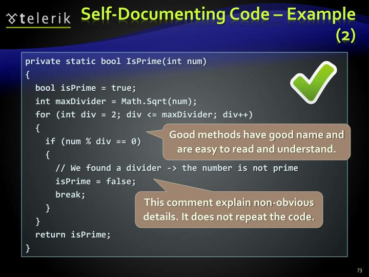Self-Documenting Code – Example (2)