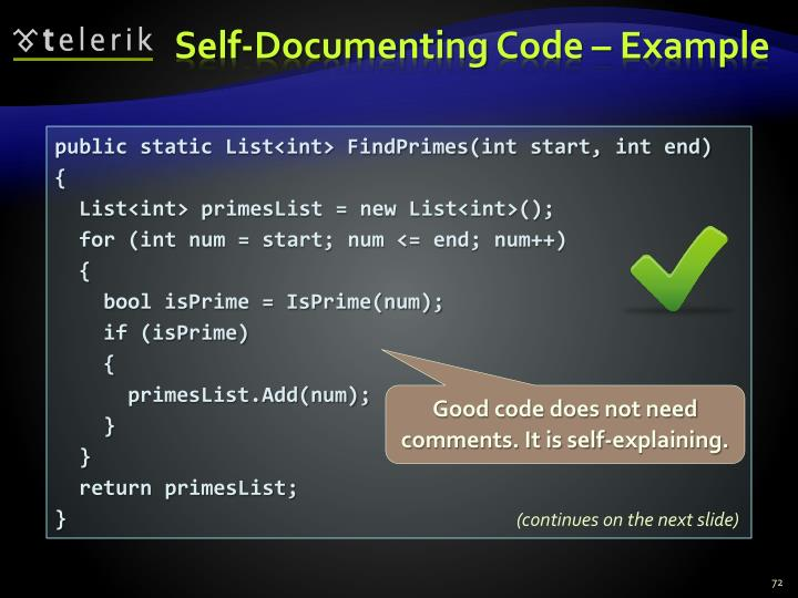 Self-Documenting Code – Example