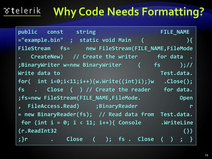 Why Code Needs Formatting?