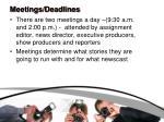 meetings deadlines