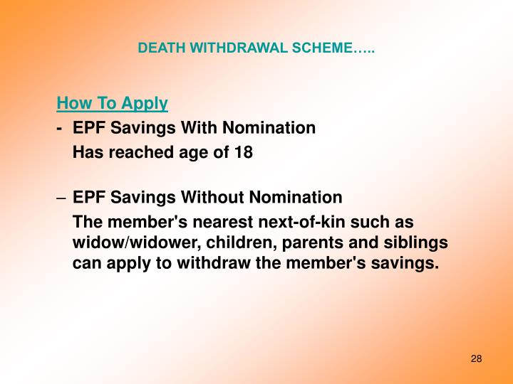 DEATH WITHDRAWAL SCHEME…..