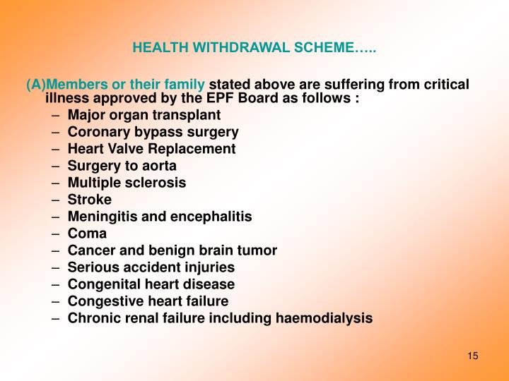 HEALTH WITHDRAWAL SCHEME…..
