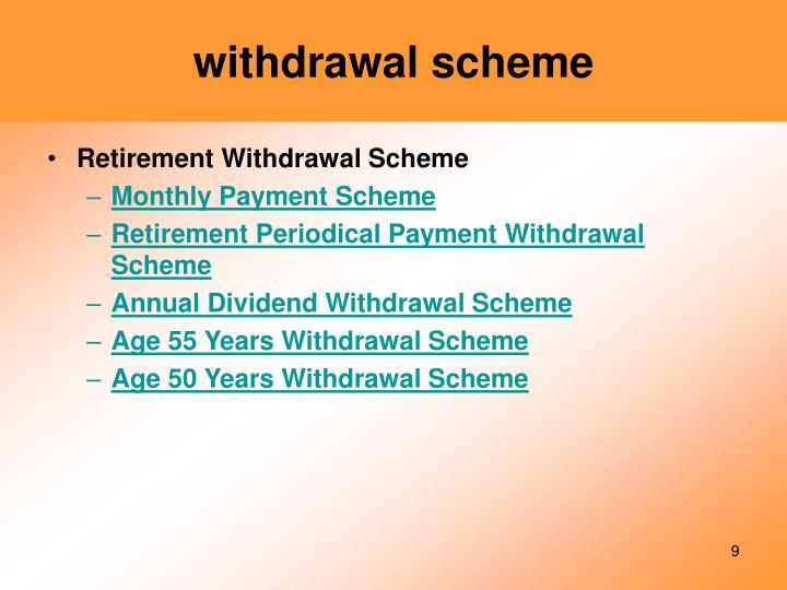 withdrawal scheme