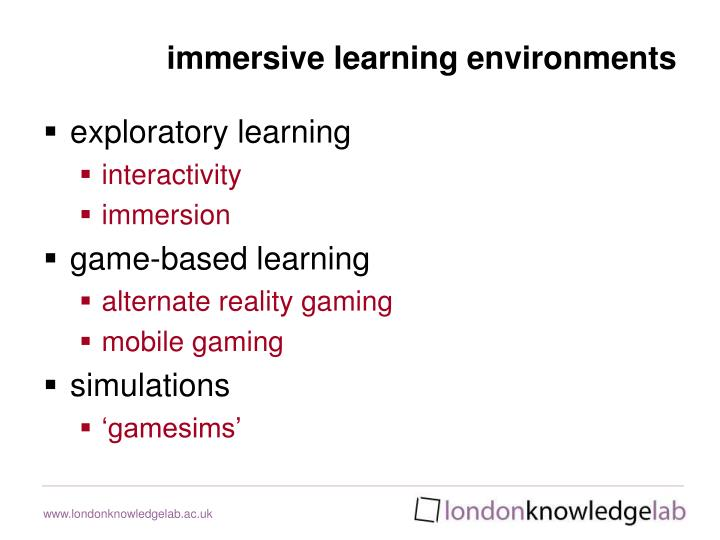 immersive learning environments