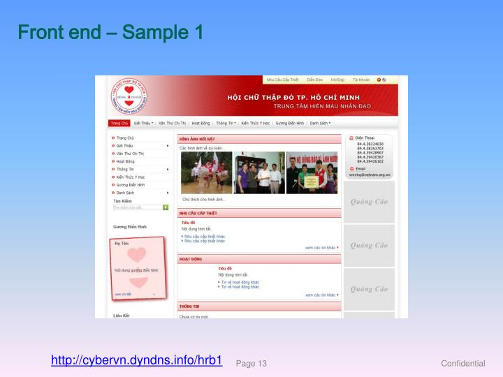 Front end – Sample 1