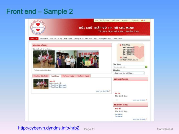 Front end – Sample 2
