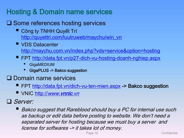 Hosting & Domain name services